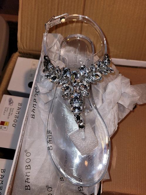 Silver Clear Rhinestone Sandals