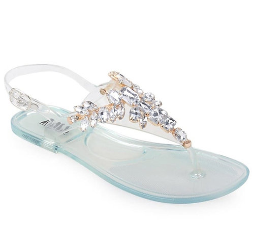 Gold Clear Rhinestone Sandals