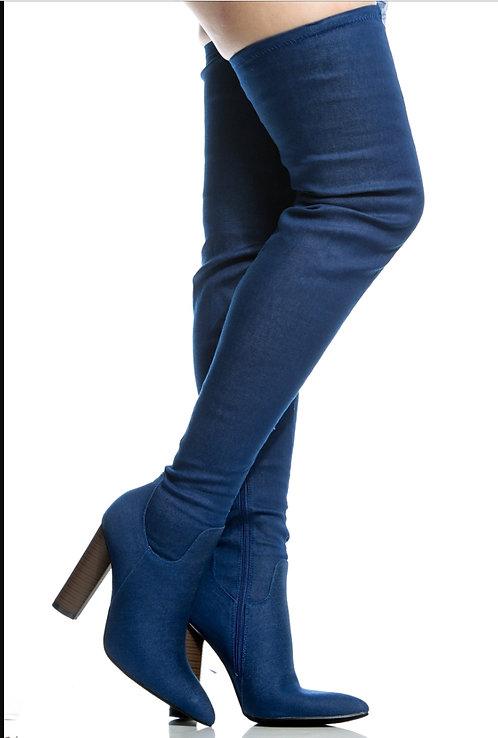 Denim Thigh High Boot