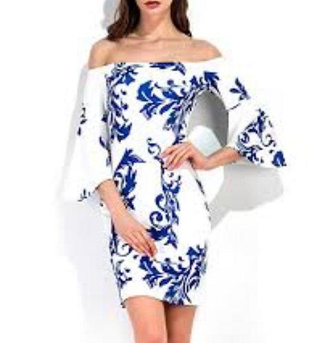 Blue & White Bell Sleeve