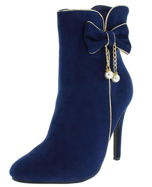 Blue/Gold Chain Pearl Ankle Boot