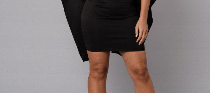 Bella Cape Dress - Black