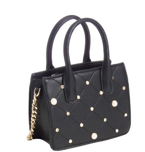 Black Leather & Pearl Satchel