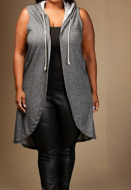 Distressed Sweatshirt Vest