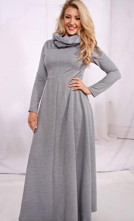 Gray Cowl-Neck Dress
