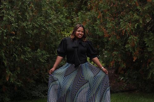 Blue Multi Geometric Skirt