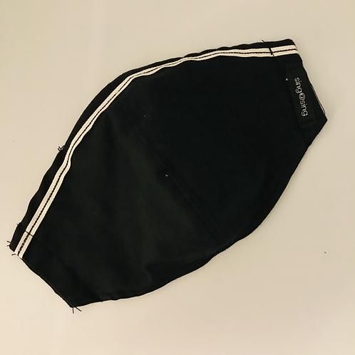 Plain Black with stripe ribbon Face Mask
