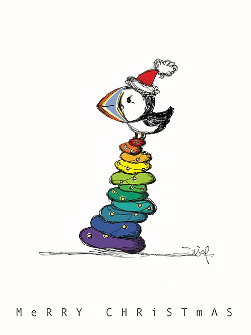 Rainbow Puffin Christmas Card