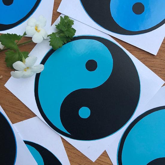 Teal Yin Yang sticker