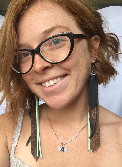 Mint/brown/purple long earrings