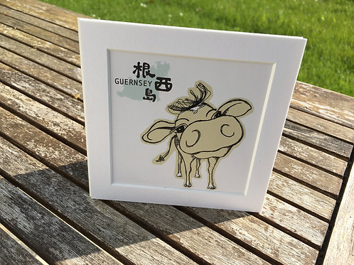 "Guernsey Cow 8""x8"" Prints (Chinese)"