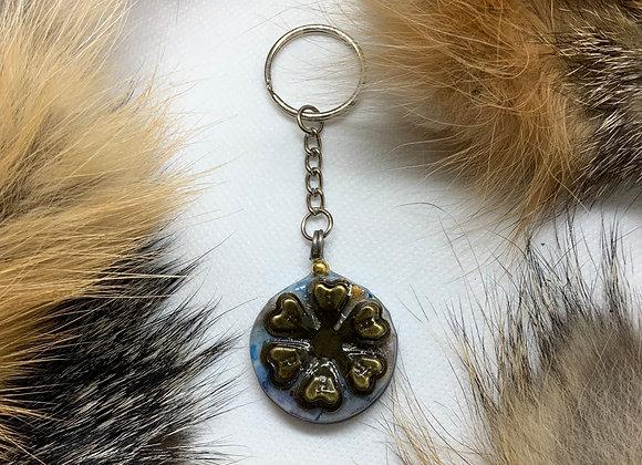 Bronze flower keychain