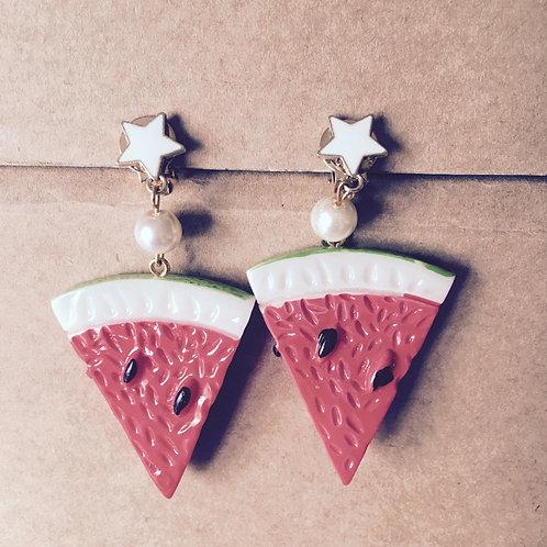 Water Melon Clip On Earring