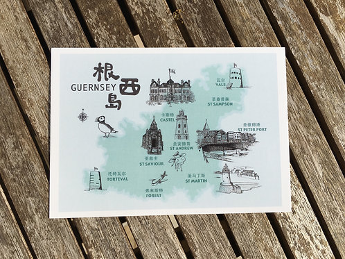 Guernsey Map Postcard (Chinese)