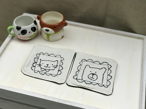 Little cat and bear [coasters set of 2]