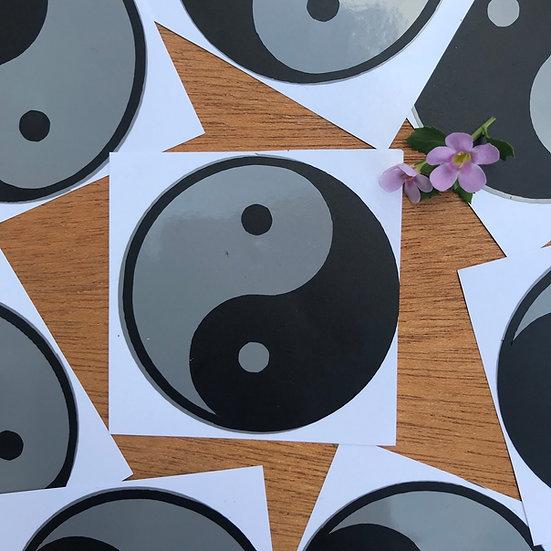 Silver Yin Yang sticker