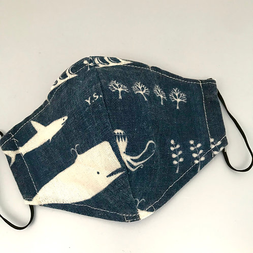 Blue & White Whale Face Mask