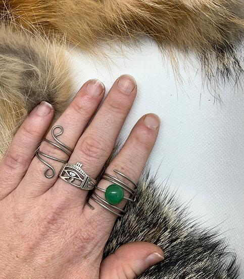 Green Aventurine swirl ring