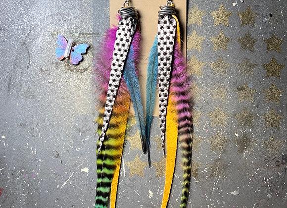 """Rainbow daydream 9"""" long earrings"""