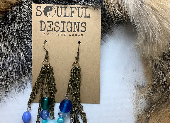 Bronze chain earrings with blue accent