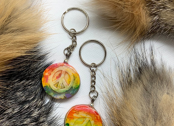 Rainbow peace keychain