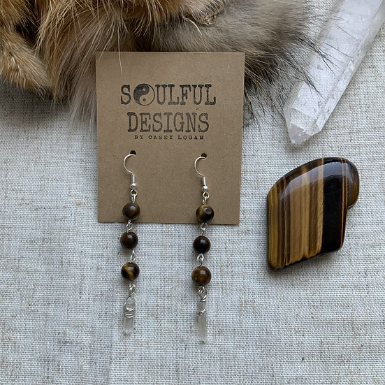 Tigers Eye & Quartz dangle earrings
