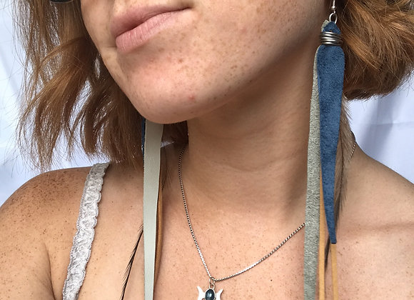 Navy & yellow long earrings