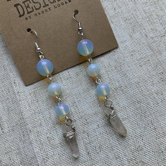 Opalite & Quartz dangle earrings