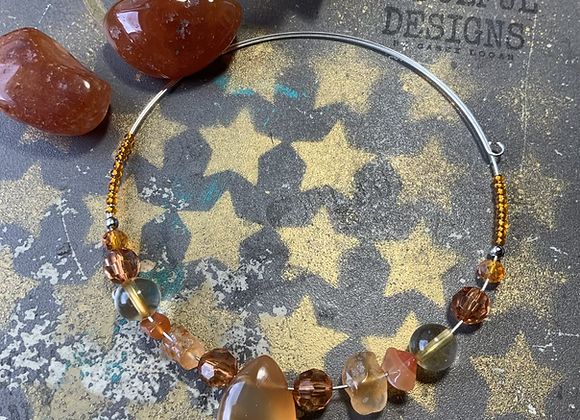 Carnelian and Citrine choker - Sterling silver
