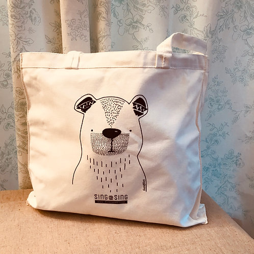 B & W Bear tote bag