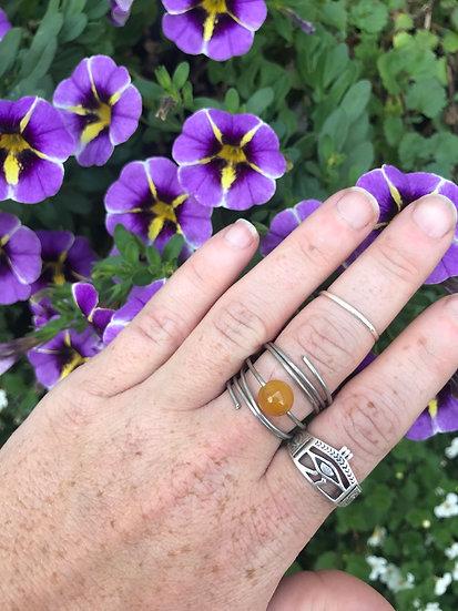Yellow Agate swirl ring