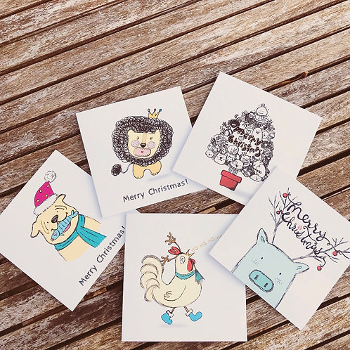 """4"""" X'mas Card-Pack of 5"""