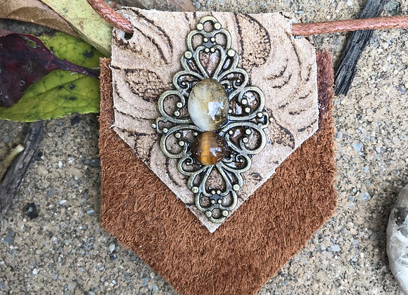 Citrine & Tigers eye leather necklace