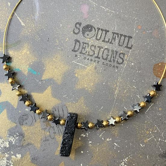 Lava rock & Hematite gypsy slide necklace