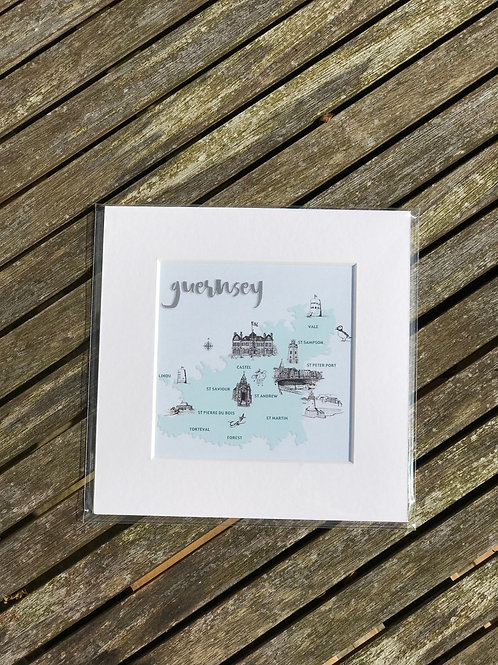 "Guernsey Map 8""x8"" Prints"