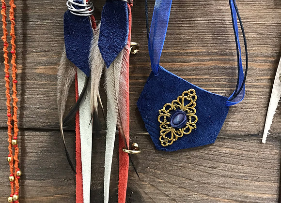 red, white & blue long earrings