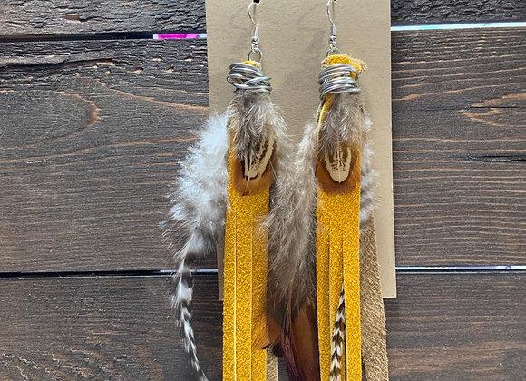 Pheasant sunflower  Earrings