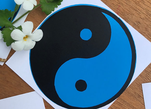 Blue Yin Yang sticker