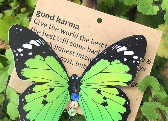 Green butterfly clip