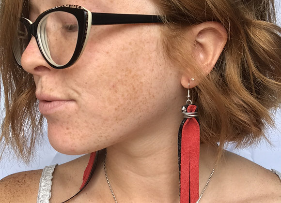 red & black print earrings