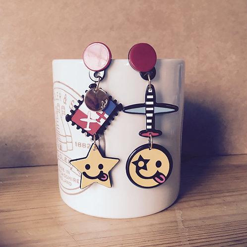 Kawaii Smiley face & Star Earring