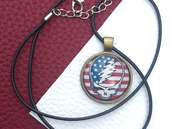Grateful Dead stealie- American flag/ black