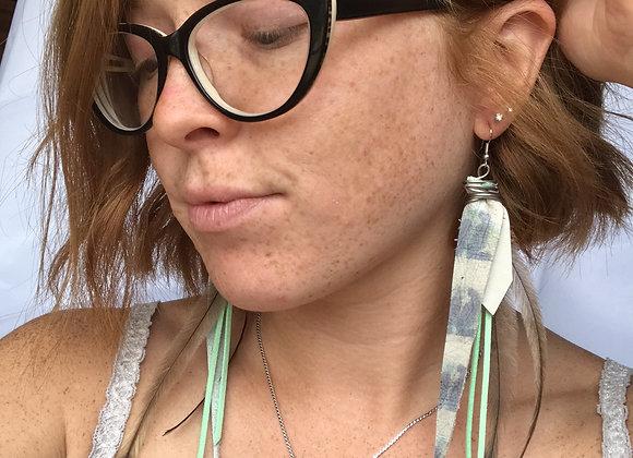 Mint leather earrings