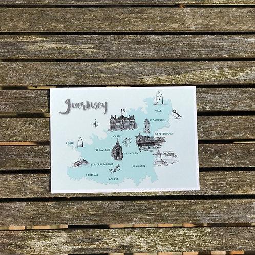 Guernsey Map Postcard