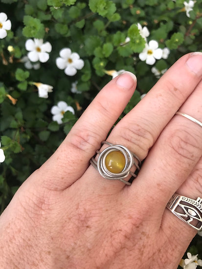 Yellow Agate Ring