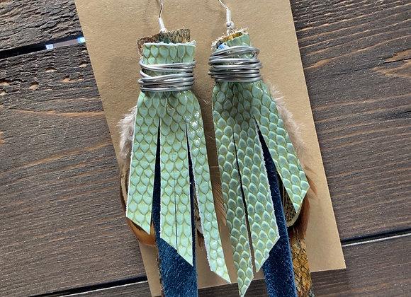 Mint Snakeskin bohemian Earrings