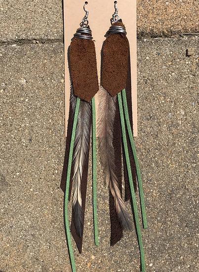 Brown & olive long earrings