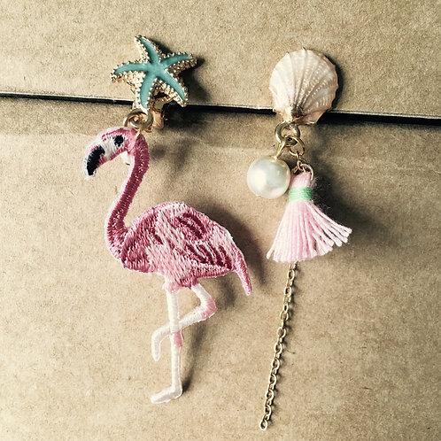 Flamingo Clip On Earring