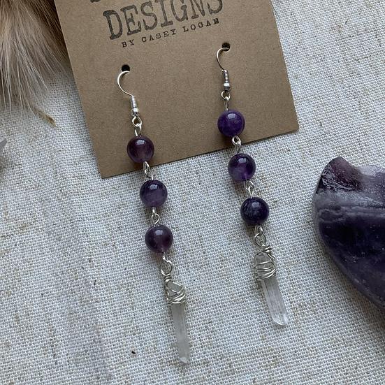 Amethyst & Quartz dangle earrings