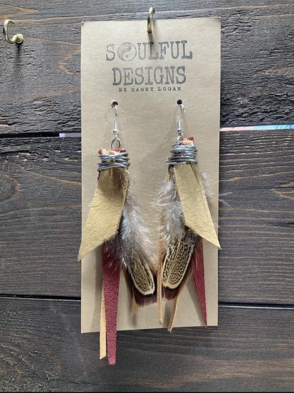 Mulled wine Pheasant earrings